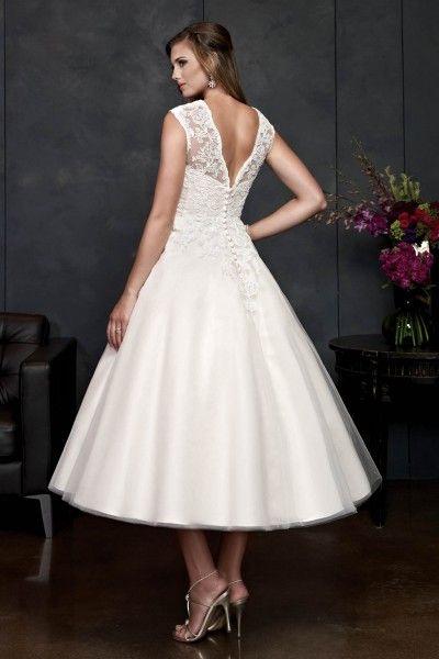 2015 Elegant Vintage Short Wedding Dresses UK with Straps,Princess,Tulle Fabric,Tea-length, V2014120916
