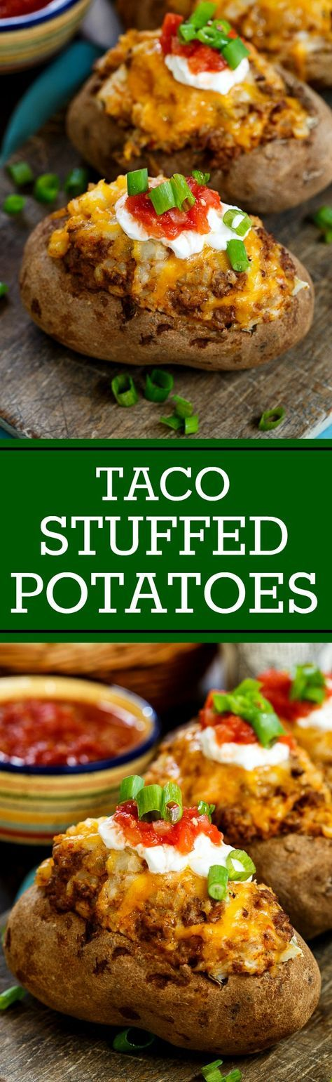 Double Stuffed Taco Potatoes | Recipe | Stuffed potatoes, Tacos and ...