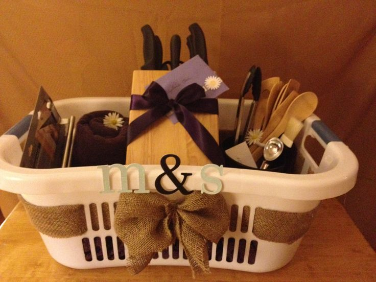For a beautiful and personalized wedding gift: order items from the bride & grooms registry and then decorate a laundry basket with their initials and burlap for lovely presentation!                                                                                                                                                      More