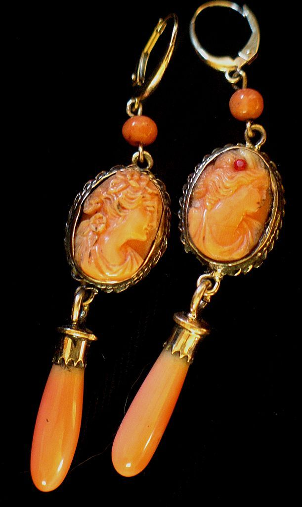 .beautiful coral cameo earrings