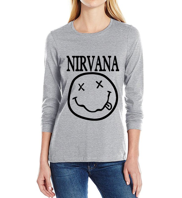 Nirvana Smiley Face Rock Band Print 100% Cotton long sleeve Casual Funny Shirt femme tops 2017 new spring autumn Women t shirt  #Affiliate