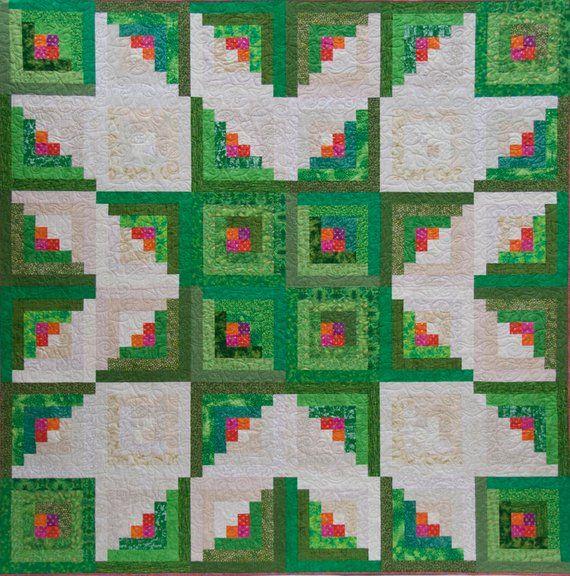 Log Cabin Quilt Pattern – Star Quilt Pattern – PDF Quilt Pattern – Quilt Patterns – Quilt Pattern PDF – Log Cabin Quilt – Queen Sized Quilts