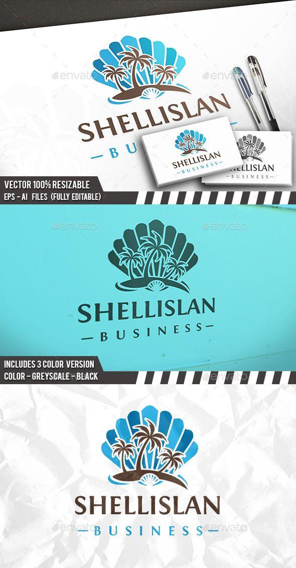 Beach Shell Logo Template PSD, Vector EPS, AI Illustrator