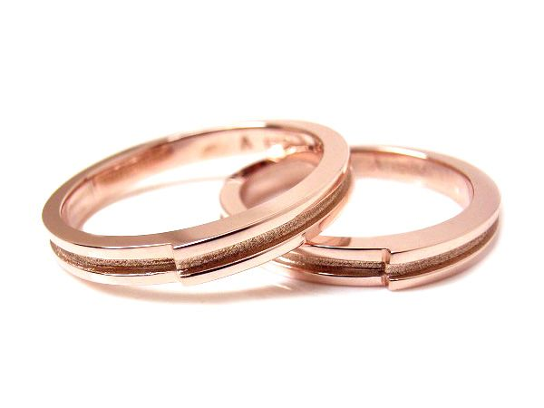 AMBRACE K18 pink gold ring stylish flat line 3mm ピンクゴールド ペアリング スタイリッシュ フラット ライン