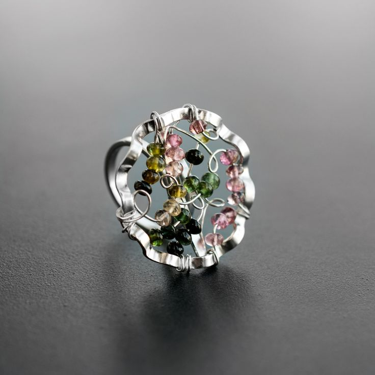 Handmade rhodium plated 925 sterling silver ring with tourmaline stones