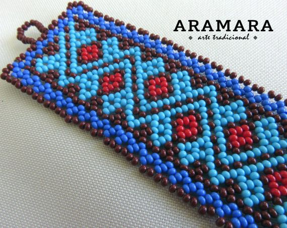 Mexican Huichol Beaded Blue Tribal Bracelet PC-0017 by Aramara