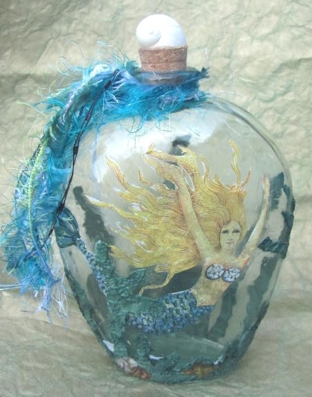 decoupaged mermaid bottle