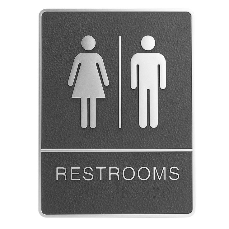 Braille Unisex ADA Plastic Sign Board for Restroom Bathroom handicap