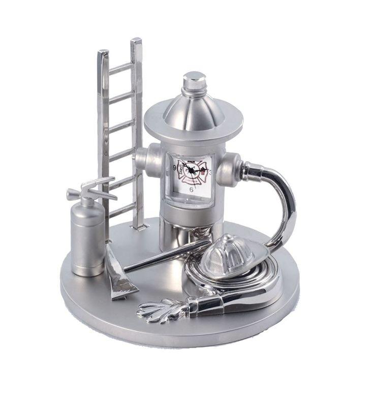 Firefighter Fireman Miniature Desk Clock Fire Equipment Sanis New In Box #SanisEnterprises