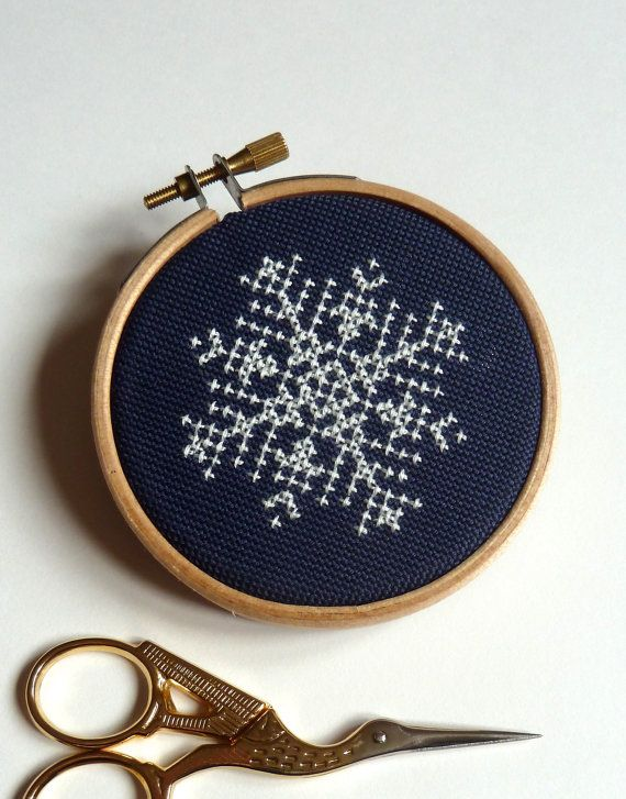 Cross stitch snowflake embroidery hoop art christmas decoration.