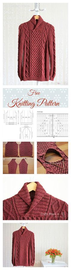 Get free knitting pattern of stylish & luxury Shawl Collar Cable Pullover. Sizes: 32, 36, 40, 44, 48 and 52 inch chest measurements, suit both men & women.