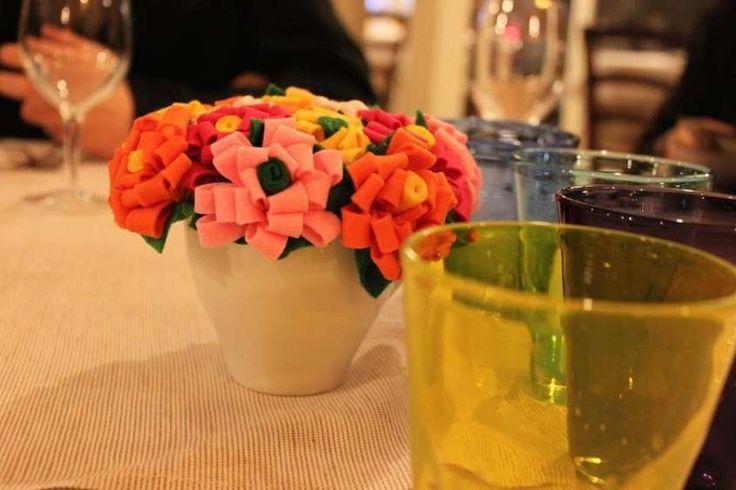 Centrotavola estivi - Centrotavola estivo con fiori in feltro