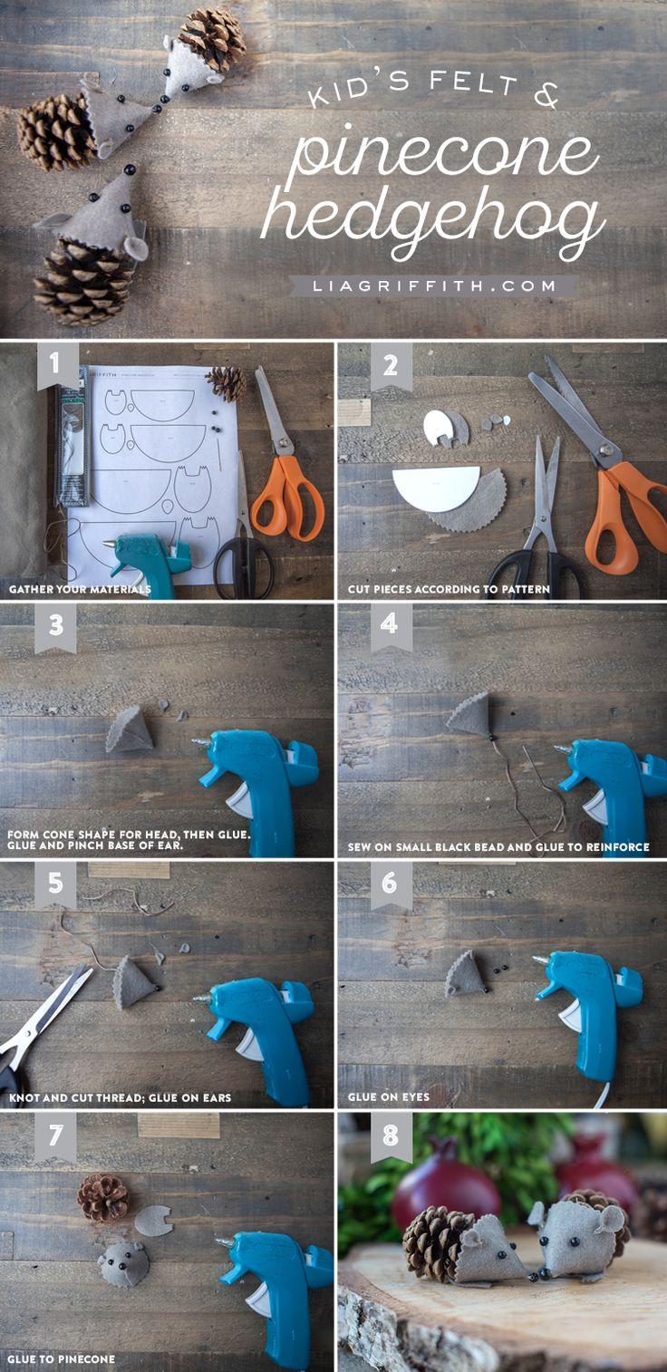 DIY Felt Pinecone Hedgehog Craft Tutorial