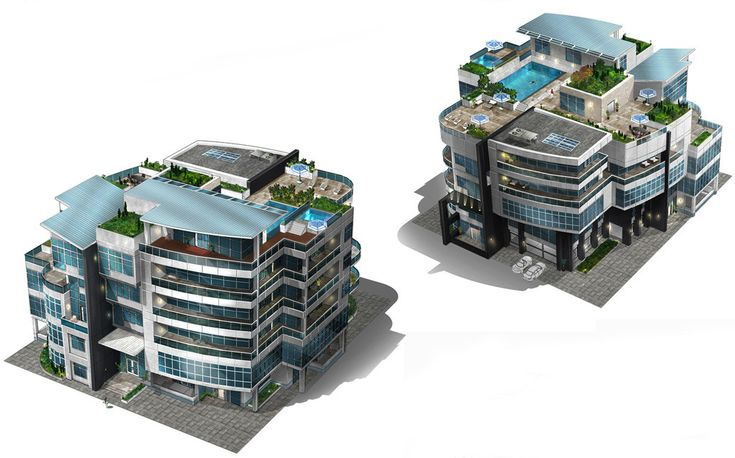 """I art directed and defined the visual language of, and oversaw the design, construction, and implementation of all the """"RCI"""" (Residential, Commerical, Industrial) buildings for SimCity 2013 (PC). In total, this encompassed over 900 unique building models and the ground textures and props that surrounded them. I worked with the very talented Frances Ngai for the internal concepts and Sperasoft in Russia for all the other concepts (note none were painted by me). 3D modeling, set dress..."""
