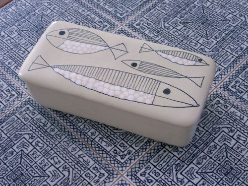 Fish ceramic cigarette box by Bagni Studios, imported by Raymor