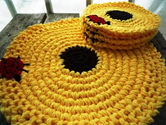 Crochet Flower Place Mat  and Coaster by MonikaDesign on Etsy
