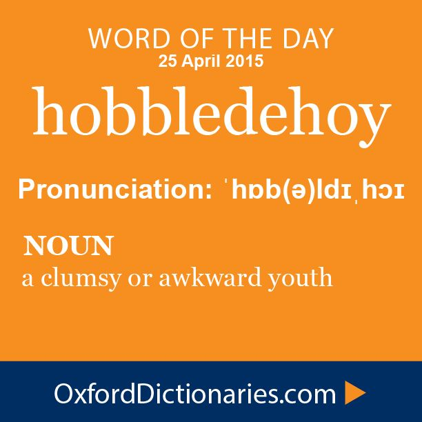 hobbledehoy (noun): A clumsy or awkward youth. Word of the Day for 25 April 2015. #WOTD #WordoftheDay #hobbledehoy