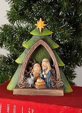 Peaceful Pine Nativity by Sharon Bond. Exclusive resin surface and Free Downloadable pattern available at www.ArtistsClub.com