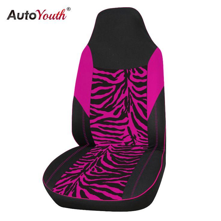 AUTOYOUTH Fluwelen Stof Roze Zebra Auto Bekleding Universele Past Meest Auto SUV Auto Styling Interieur Accessoires Seat Cover