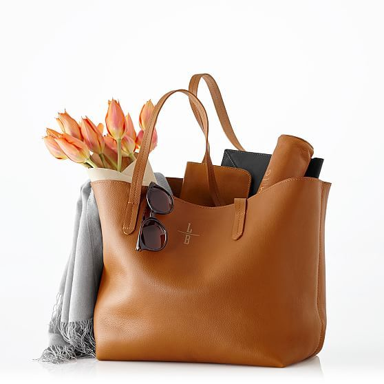 Everyday Leather Tote, Cool Colors | Mark and Graham