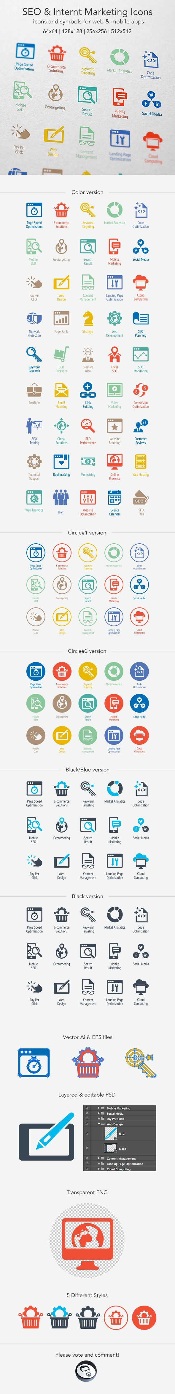 SEO & Internet Marketing Icons by Artem Ottoson, via Behance