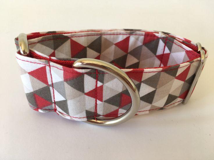 Collar perro Triángulos Rojo y gris, Collar martingale,Collar galgo, Martingale dog collar, Collares para perros, Correa perro, Spain de 4GUAUS en Etsy