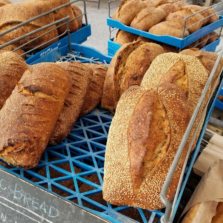 Artisan freshly baked bread loaves. Farmers market in London Ontario