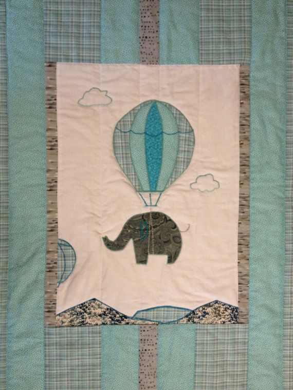 Aqua and gray baby quilt, elephant and hot air balloon