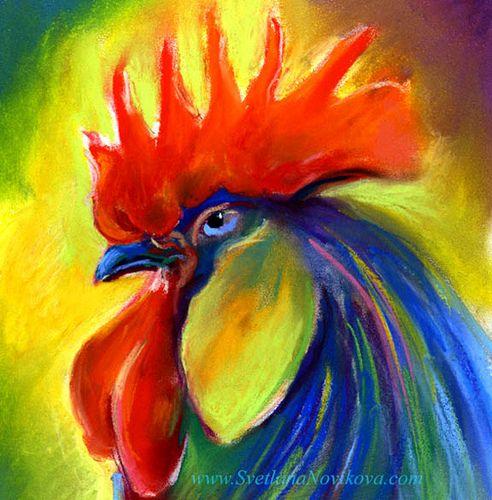 bright rooster pastel painting by www.SvetlanaNovikova.com, via Flickr