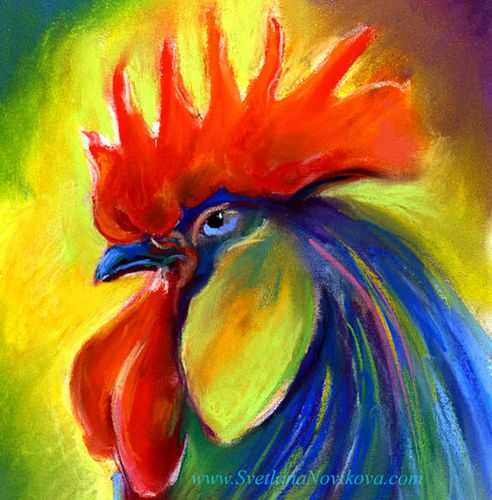 bright rooster pastel painting by www.SvetlanaNovikova.com, via Flickr