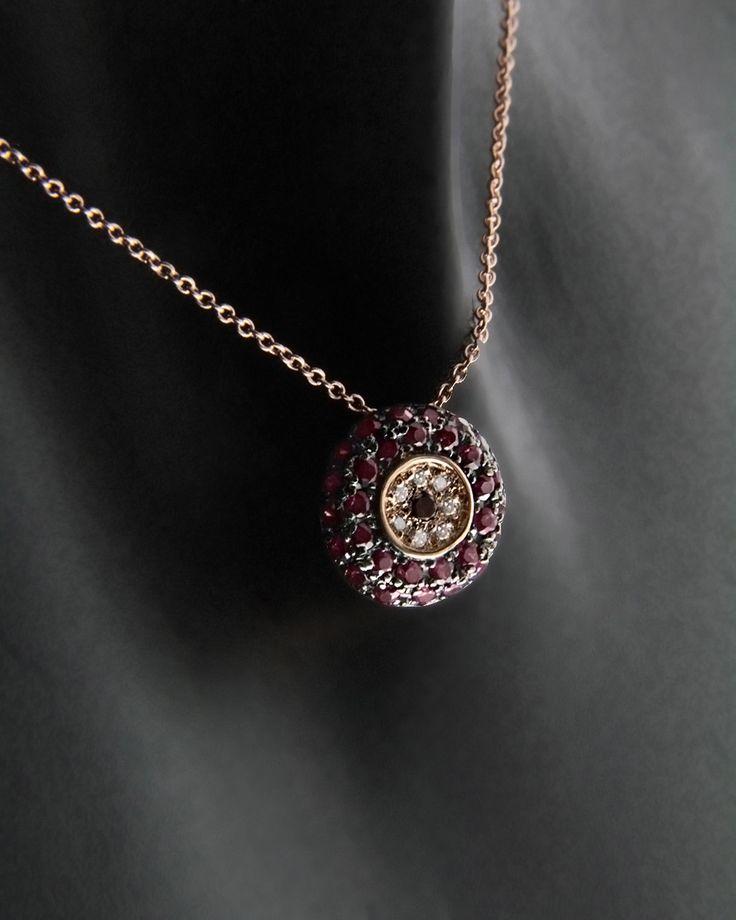 Κολιέ ματάκι ροζ χρυσό Κ18 με Ρουμπίνια & Διαμάντια