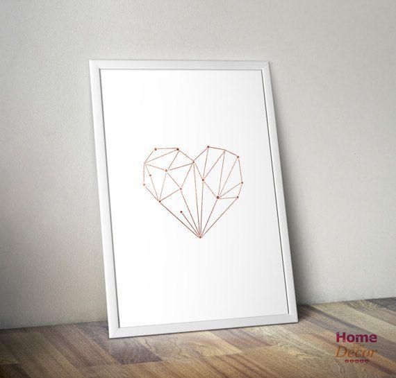 Rose Gold Heart Stars Geometric Minimalist Print by HomeDecorTips
