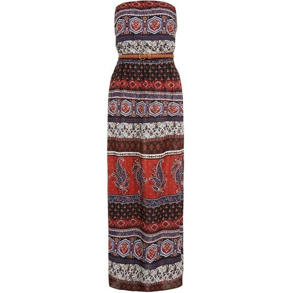 Red Ethnic Print Belted Bandeau Maxi Dress (£23) ❤ liked on Polyvore featuring dresses, printed dress, tribal maxi dresses, red strap dress, bandeau dress, maxi dresses and tribal print maxi dress