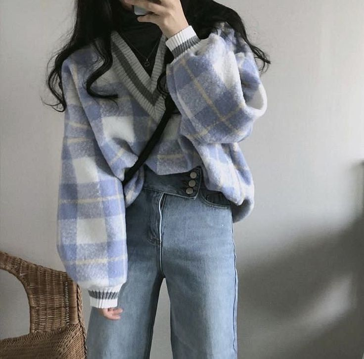 Korean Fashion Fall Winter Outfit Blue V Neck Oversized Plaid Sweater Jeans In 2020 Korean Girl Fashion Korean Street Fashion Korean Fashion