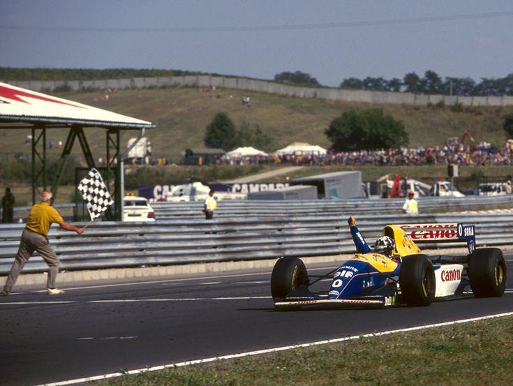 Damon Hill on his way to winning the 1993 Hungarian Grand Prix