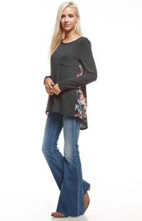 Get cozy with this cute floral knit top. The front of top is a solid Charcoal while the back is a gorgeous floral pattern.  Long sleeves.  Tunic style top with longer back than front.Fits true ...
