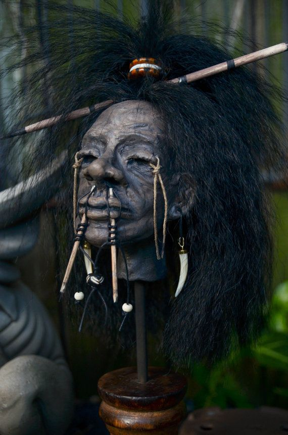Deluxe Shrunken Head with Wood Stand Very by EarthlyAdornments  Follow and Like…