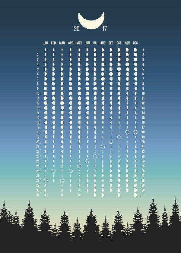 Moon Phases Calendar 2017. Northern Hemisphere.
