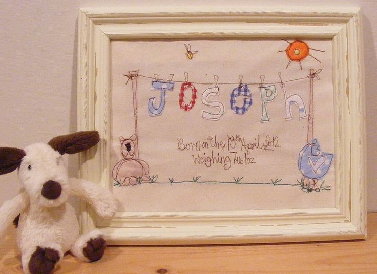 new baby personalised embroidered artwork by katy kirkham designs | notonthehighstreet.com