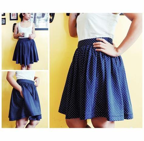 DIY skirt : DIY gathered full skirt with pocket