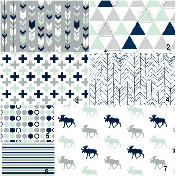 Mint and navy moose and geometrics Custom Modern by wisefingers