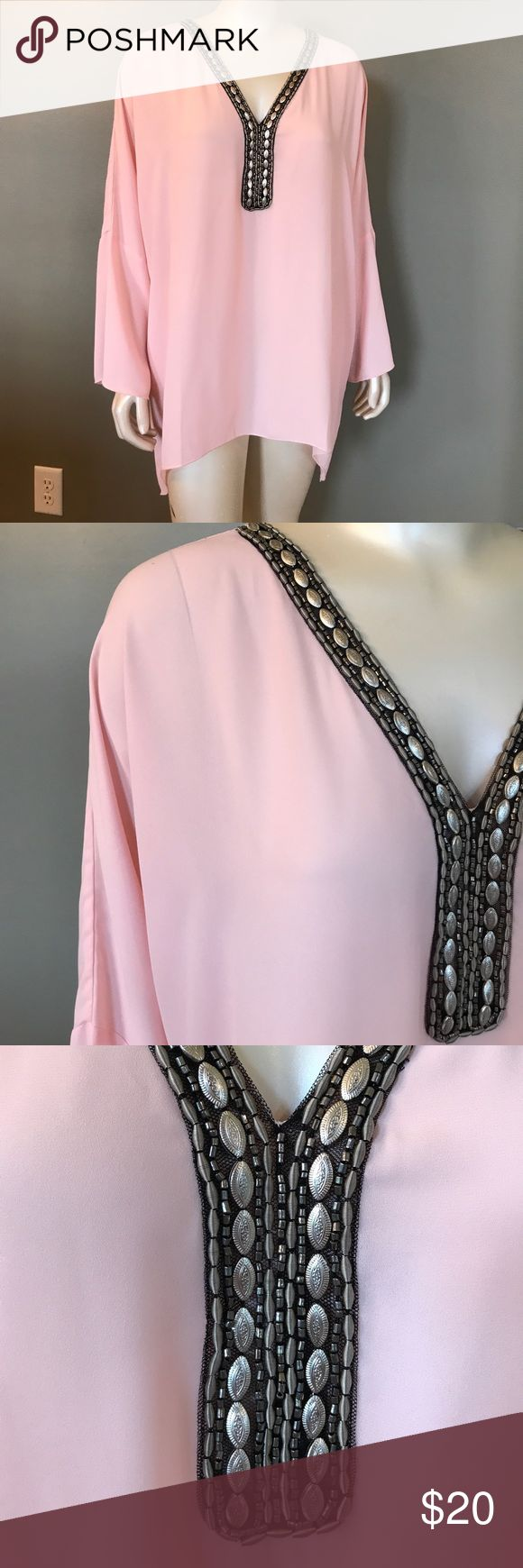 Pretty in Pink Tunic Soft Pink Top with Silver Beaded Trim Accents. Flows like a dream..... Split Sleeve Hem. On the sheer side. Looks great with flesh colored cami. Boston Proper Tops Tunics