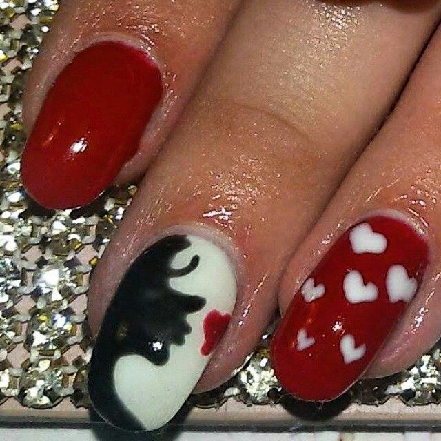 #valentine #pattern #white #red #hearts #nails