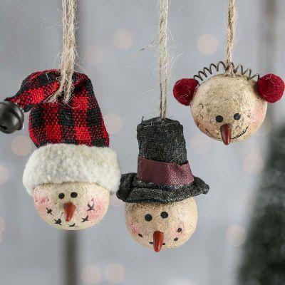 Primitive Paper Clay Snowman Ornaments