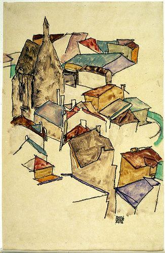 Egon Schiele Landscape Rooftops