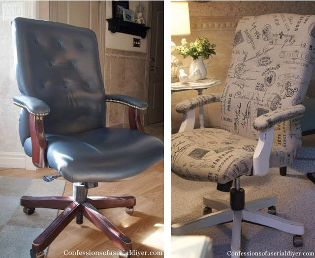 Super cool typography styled executive office chair makeover - Confessions of a Serial Do-It-Yourselfer featured on I Love That Junk