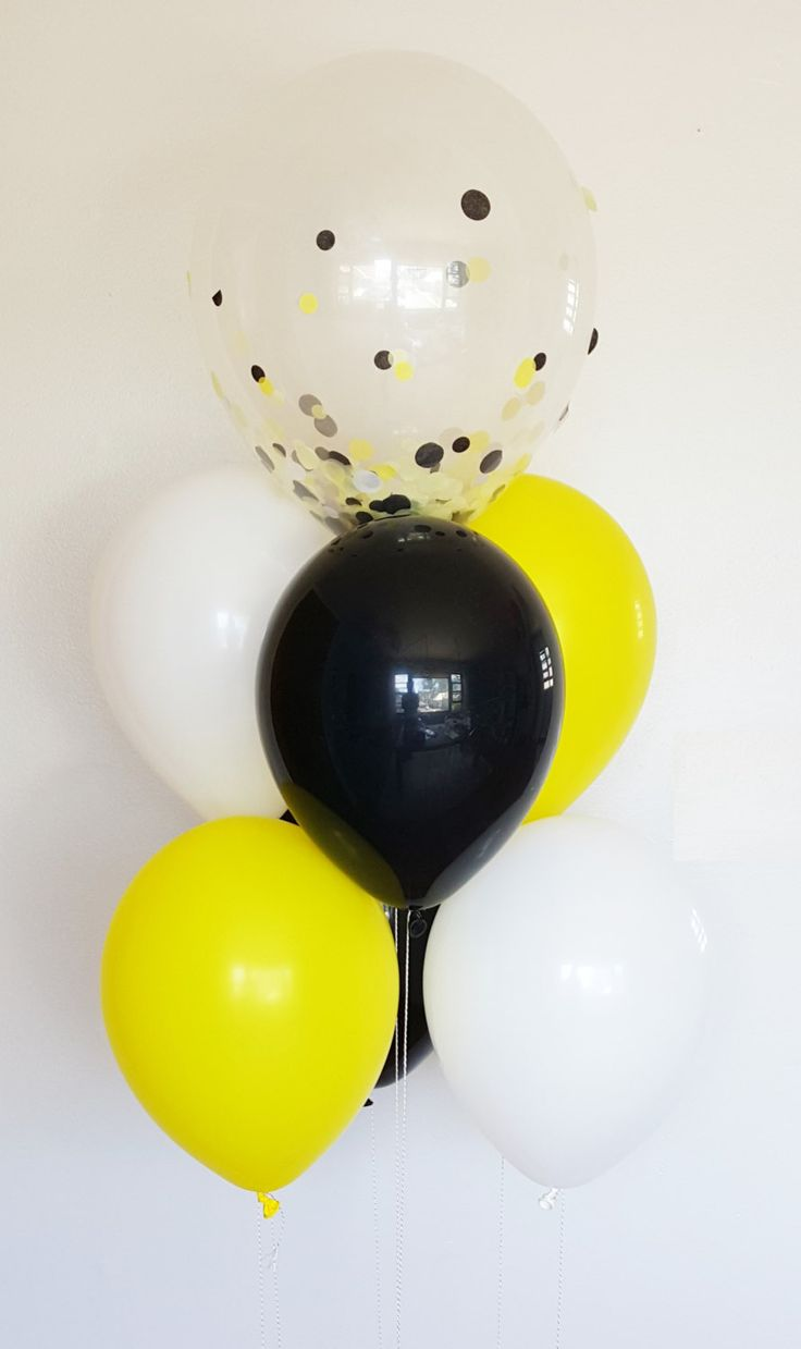 WHAT'S THE BUZZ? Confetti balloon bouquet perfect for a bumble bee or just simply a black and yellow theme.