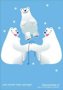 Bewegingskaarten ijsbeer voor kleuters 12 , over armen heen springen , kleuteridee.nl, thema Noorpool, Movementcards for preschool,  free pr...
