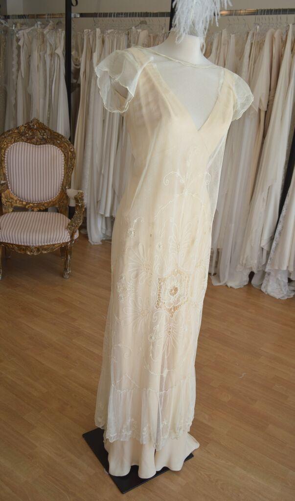 """Lily"" over a peach silk bias cut sheath........  LOWON POPE – 117 JEFFERSON AVE, TORONTO, ON – 416-504-8150 – lowonpope@gmail.com"