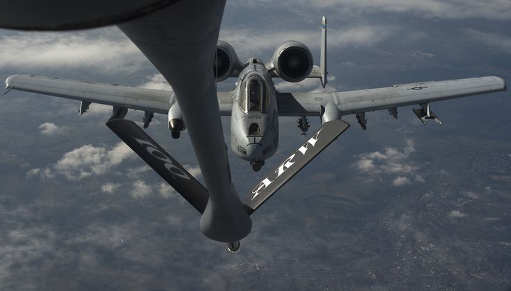 A pilot from 354th Expeditionary Fighter Squadron maneuvers an A-10 Thunderbolt II into position behind a 100th Air Refueling Wing KC-135 Stratotanker to receive fuel above Ramstein Air Base, Germany, March 26, 2015. The A-10s deployed from Davis-Monthan Air Force Base, Ariz. to Germany as part of a theater security package in support of Operation Atlantic Resolve. The Air Force and other services have increased rotational presences in Europe during the past months to reassure NATO allies…